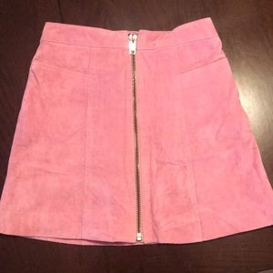 Suede pink mini skirt